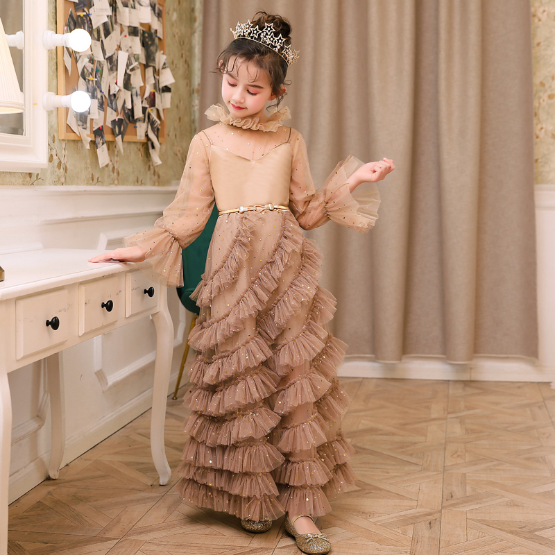 2019 mode nouvelle robe pour enfants modèle concours défilé longue robe de soirée robe de princesse Noble tempérament enfants dentelle robe - 4
