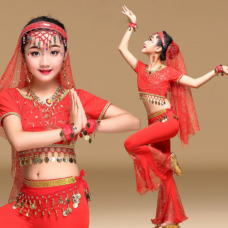 Bollywood Clothing Sari Dancewear Children Indian Outfits Belly Dance Costume Set 5pcs Top Belt Pants Veil Hair hoop in Belly Dancing from Novelty Special Use