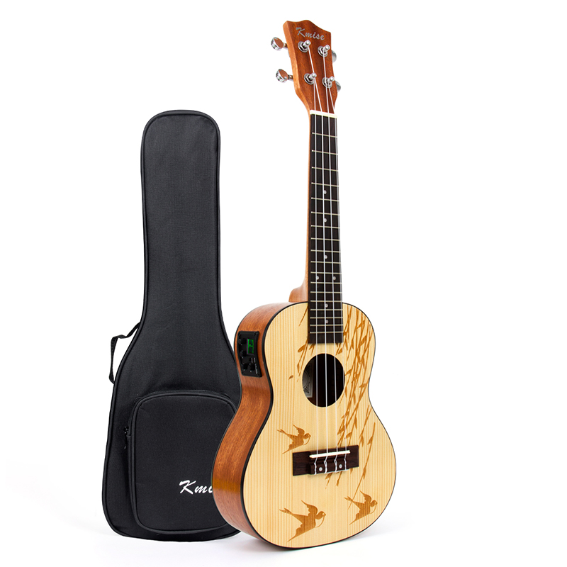 Kmise Ukulele Concert Electric Acoustic Solid Spruce 23 inch 18 Frets Ukelele Uke 4 String Hawaii Guitar with Gig Bag 21 inch colorful ukulele bag 10mm cotton soft case gig bag mini guitar ukelele backpack 2 colors optional