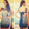 Bling Black Crystal Cocktail Dresses Open Back Bow Sexy Mini Party Gown Strapless Close Fitting Club Curto De Luxo