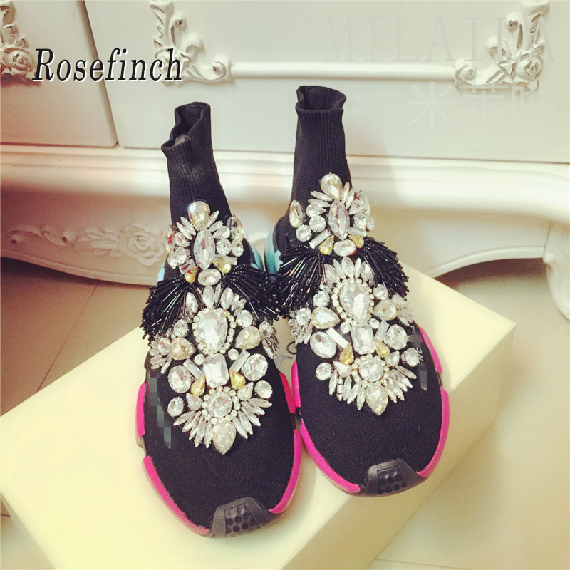 Crystal Sock Sneakers Women with Crystals Rhinestone Shoes Fashion Short Boots WK85