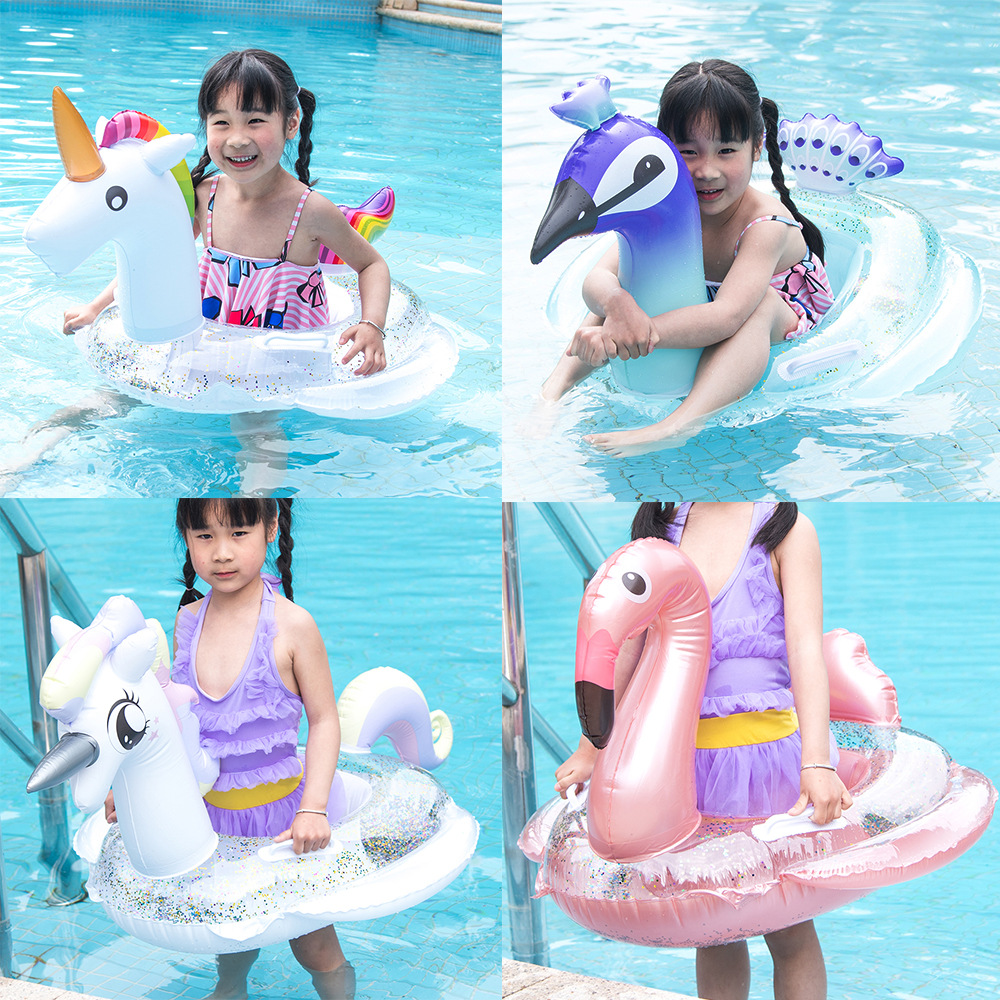 Baby Inflatable Flamingo Swan Pool Float With Sunshade Ride-On Swimming Ring Safe Seat Water Toys Infant Circle  0-6Y