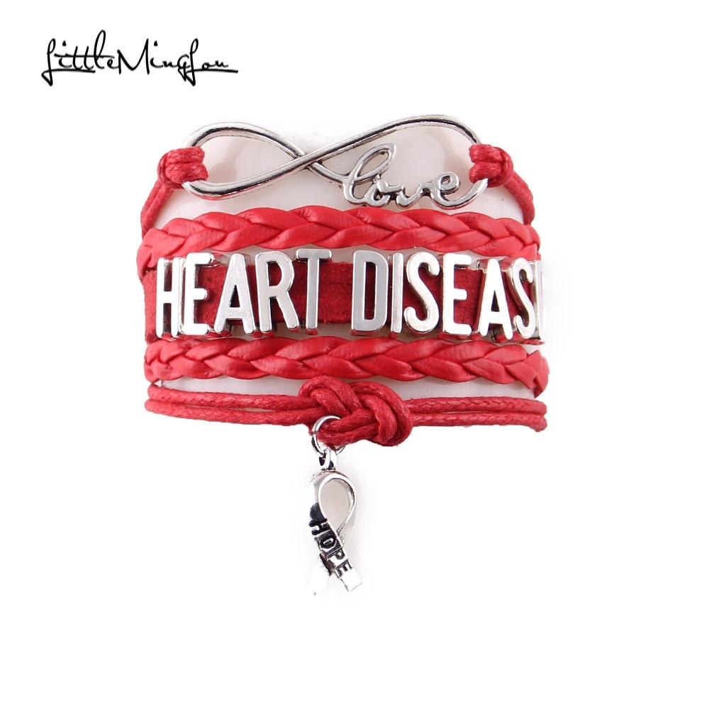 Little Minglou Infinity hope Heart disease bracelet ribbon charm Awareness leather men bracelets & bangles for women jewelry