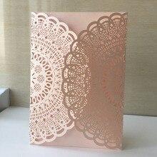 50 шт. персиковый цвет Лазерная резка кружева цветок элегантные приглашения на свадьбу бумажные карты для вечерние принадлежности день рождения Casamento карты