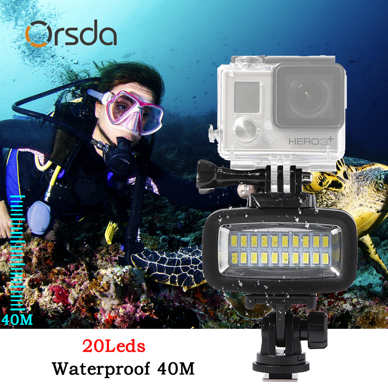 Orsda LED Flash Light Underwater Diving light Waterproof Video light Fill in Lamp For GoPro hero7 SJCAM SJ4000 H9 H9R xiaomi Yi-in Sports Camcorder Cases from Consumer Electronics