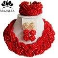 2017 Мода африканские бусы комплект ювелирных изделий красный Нигерии Свадебные Кристалл ожерелье, Свадебные Украшения, наборы Бесплатная доставка VV-012