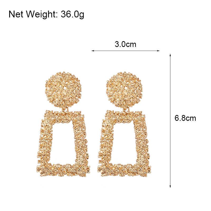 AENSOA VINTAGEโลหะขนาดใหญ่DROP Dangleต่างหูผู้หญิงเรขาคณิตเครื่องประดับงานแต่งงานขนาดใหญ่ต่างหู 6 สี