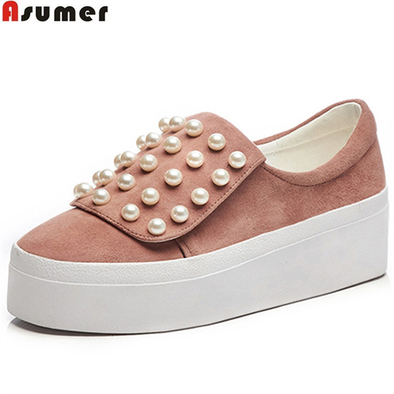 ASUMER black pink fashion spring autumn new arrival flat platform shoes woman round toe casual women suede leather flats beffery 2018 spring patent leather shoes women flats round toe casual shoes vintage british style flats platform shoes for women