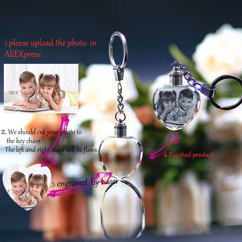 Custom Made Crystal Picture Frame Baby Gift Heart Shape Glass Mini Photo Frame LED Light Pendant Present kristallen fotolijst