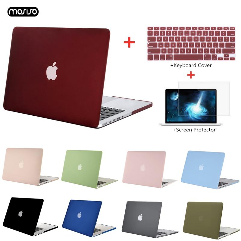 Mosiso 2019 capa de celular de concha dura, fosca, para macbook pro 13 retina 13 15 modelo a1502 a1425 a1398 livro de mac 13.3 polegadas