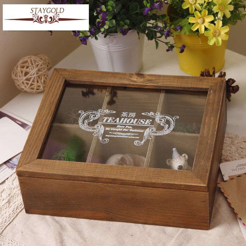 Staygold Zakka Makeup Storage Box Wood Craft Desktop Finishing Container Sub-grid Jewel Box Cosmetic Box Boite De Rangement