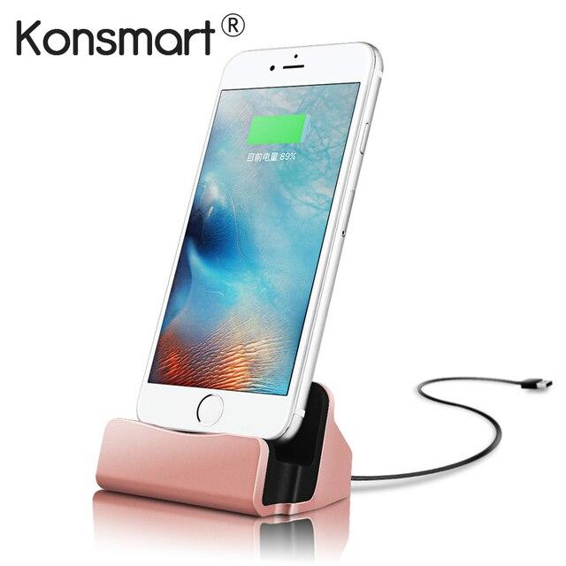 KONSMART USB Carregador Adaptador de Sincronização de Dados de Carregamento Fique Cradle Dock Para iPhone 7 5S 6 6 S Plus Estação Rastreável expedição
