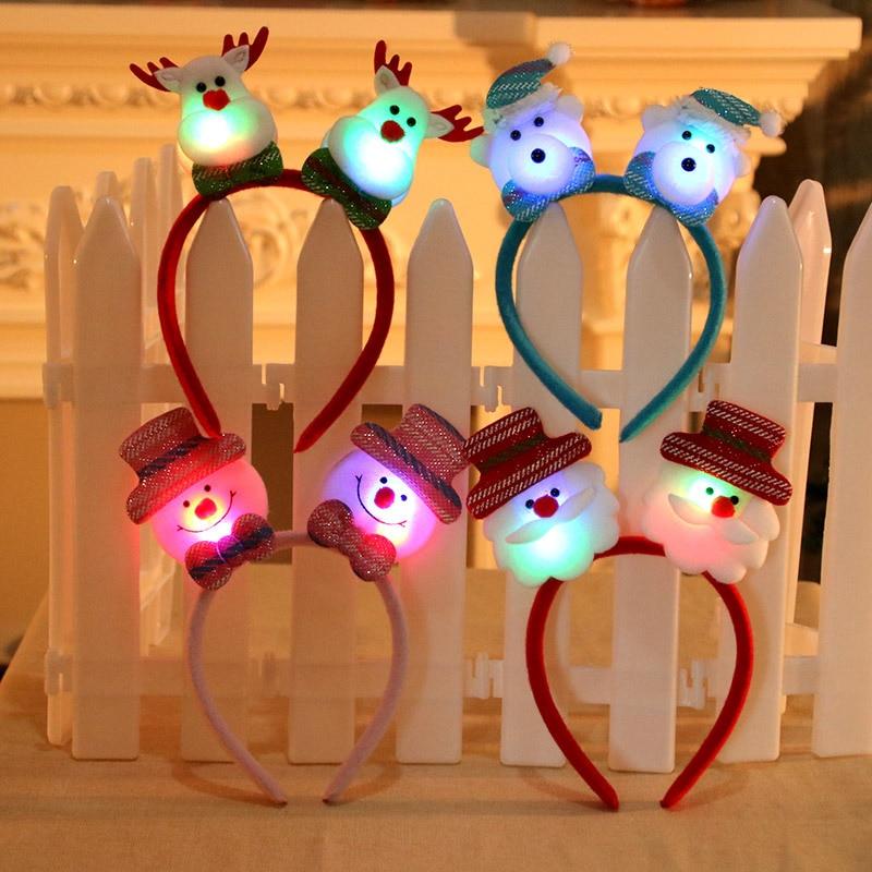 ZOTOONE 2019 New Years Double Head Xmas Decoration Red Lovely Christmas Santa Reindeer Snowman Bear LED Light Headband Hair Band