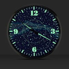 14 Inches Galaxy Luminous Mute Fashion Shi  Luminous Wall Clock Bracket  Sitting Room Bedroom Control LED Display  Clock