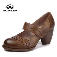 WooPoem Brand Mary Jane Shoes Woman Genuine Leather Pumps Band Women Pumps Wedges High Heels Shoes