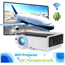 Wifi Android 5000lm font b LED b font Projector 100 Outdoor 16 9 Portable Screen for