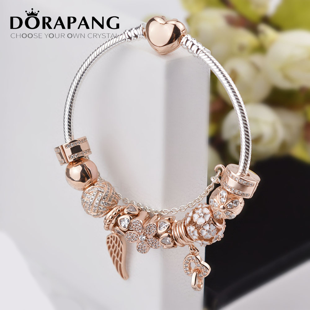 DORAPANG 100% 925 Sterling Silver Rose gold Heart bracelet suits Clear CZ Flower Charm Bead fit Bracelet DIY For Women Jewelry