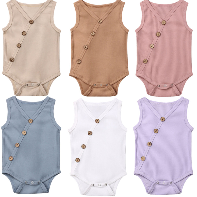 Summer Newborn Toddler Boy Girl Solid Jumpsuit Cotton Romper Sleeveless Button Outfit Innrech Market.com