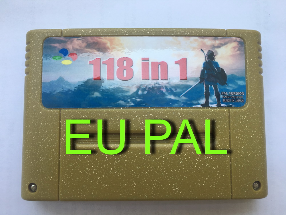 Super 118 In 1 Game Cartridge For SNES 16-Bit Multicart PAL EU Version(Can Battery Save)