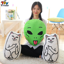 46cm Plush Ripndip Lord Nermal Lordnermal Toy Stuffed Cat Green Alien Lil Mayo Doll Cushion Kawaii Birthday Gift Street Style