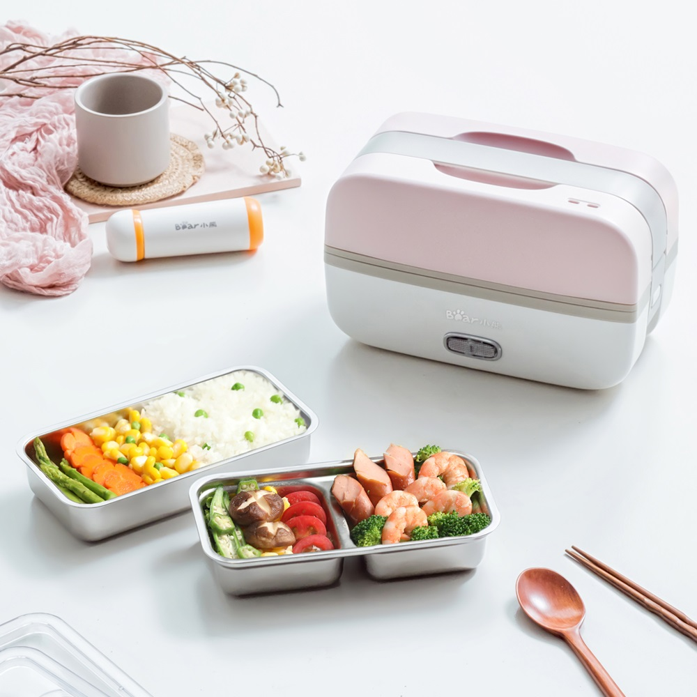220V Electric Heating Lunch Box Multifunction Cooking Machine Portable Electric Heating Pot Stainless Steel Inner For Travel bear dfh s2516 electric box insulation heating lunch box cooking lunch boxes hot meal ceramic gall stainless steel