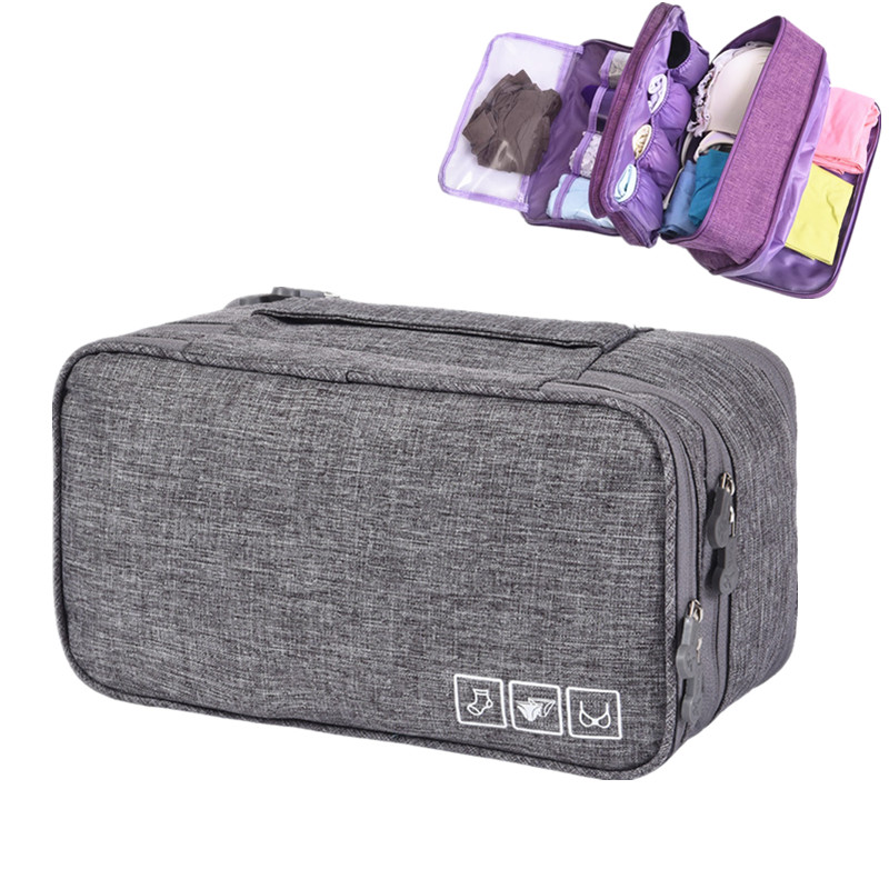 Women Travel Accessories Bra Underwear Bag Portable Weekend Overnight Cosmetics Socks Finishing Organizer Double Storage Pouch