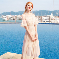 Spring Summer Women's Tulle Dress Euro American fashionable elegant pleated dress on vacation with sleeves of medium length