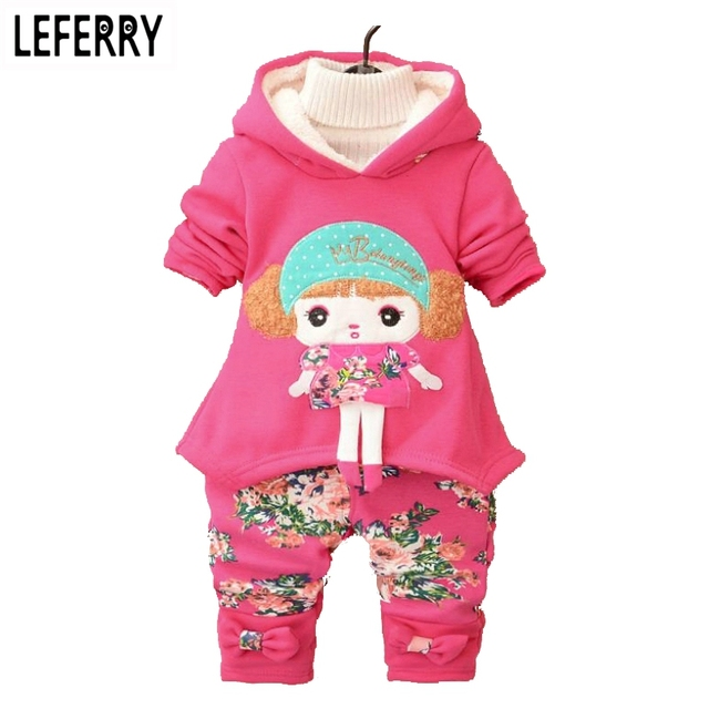 Hot Winter Velvet Kids Clothes Baby Girls Clothing Set Children Clothes Sets Toddler Girl Clothing Set Korean 2016 New 3pcs 2pcs