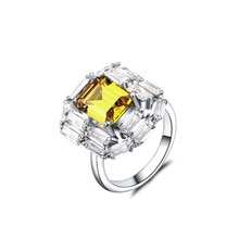 Top Quality Silver Color Yellow Pink Crystal Finger Rings Elegant Brand Jewelry CZ Austrian For Women Solid