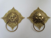 Wedding Decorations/Art Collection Chinese Brass Carved lion Doorbell Statue/Sculpture