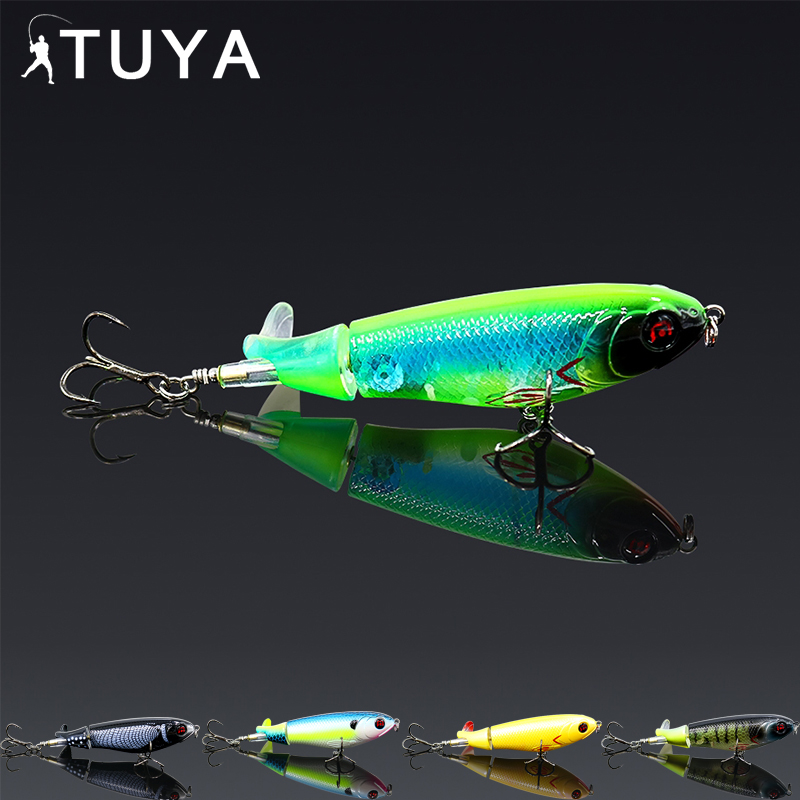 TUYA Rotating Tail Topwater Wobblers Popper Fishing Lure Trolling Minnow Whopper Plopper Bionic Fish Artificial Bait 10.5cm 17g