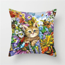 Fuwatacchi Cute Cats Throw Pillows Dog Life Pillow Covers Animals Painting Cushion Covers for Home Chair Decor Pillowcases цены