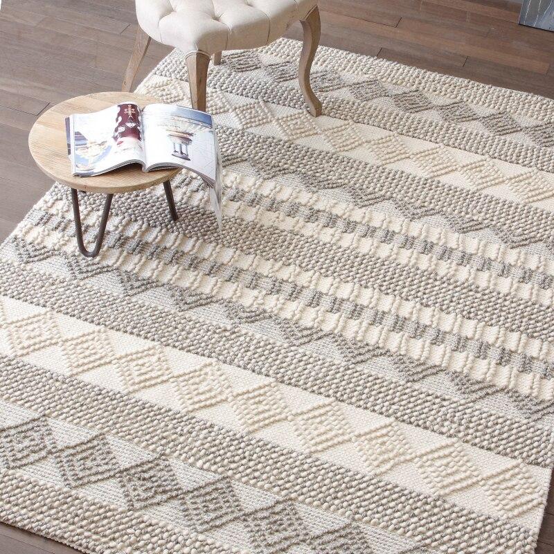 Simple Modern Hand-made Wool Carpet Living Room Sofa Tea Table Bed Mat Non-Slip Bedroom Rug Home Decorator Floor Carpet