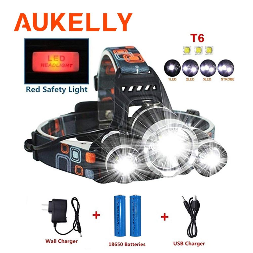 Super Bright LED Headlamp XM-T6x3 LED Rechargeable Headlight Long Range Flashlight Torch Lamp Camping Fishing Lantern Use 18650