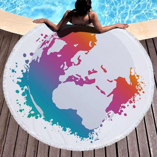 Minimalist microfiber world map summer round beach towel printing minimalist microfiber world map summer round beach towel printing plush yoga mat tassel tapestry travel picnic gumiabroncs Gallery