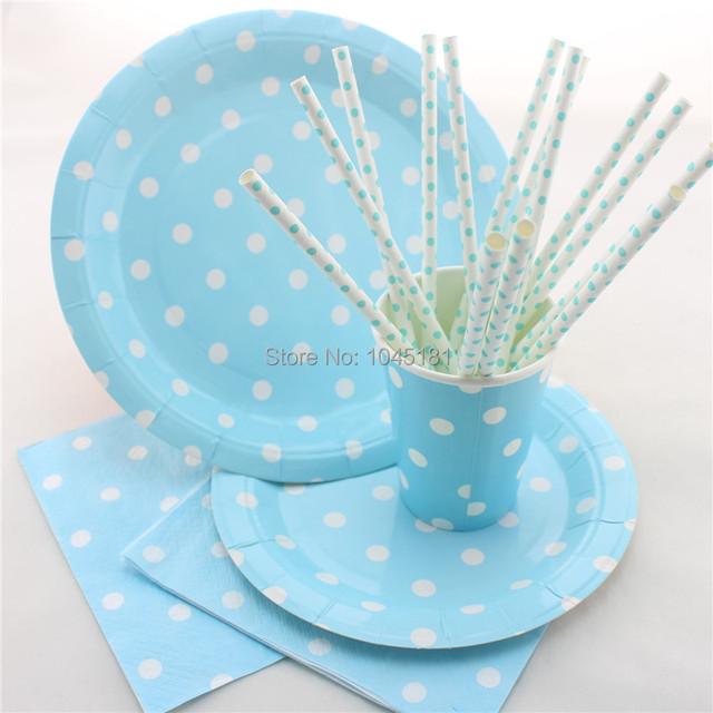 ipalmay 300 Sets Disposable Party Paper Plates Cups Straws Napkins Blue Polka dot Party Tableware Free  sc 1 st  AliExpress.com & ipalmay 300 Sets Disposable Party Paper Plates Cups Straws Napkins ...