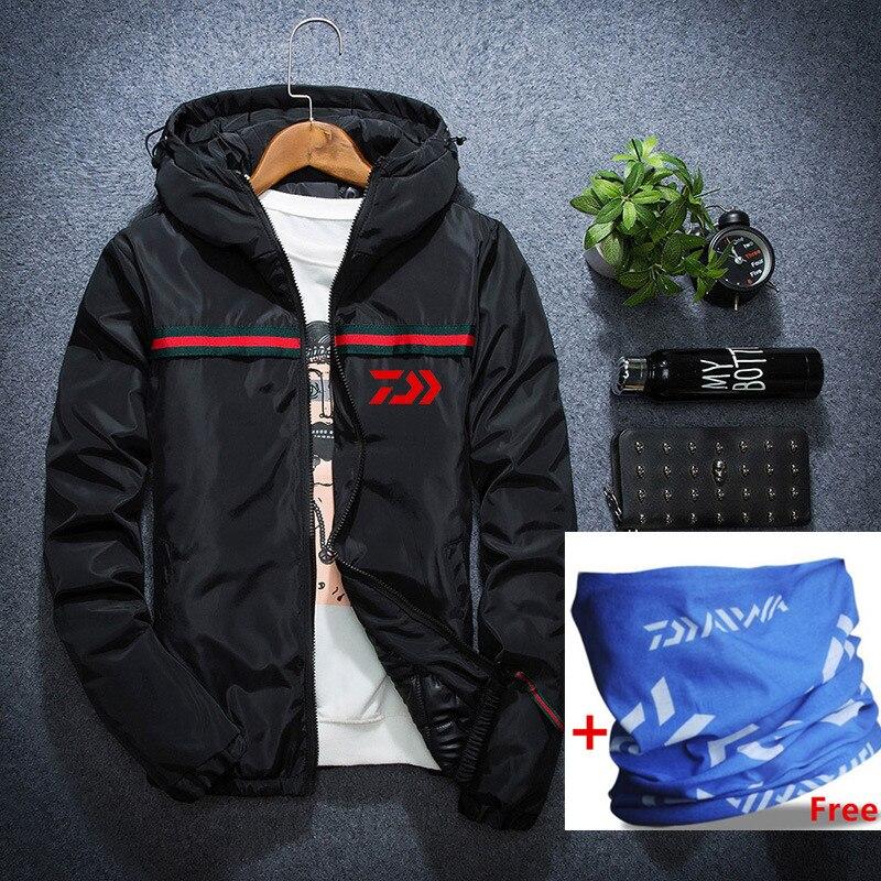 Daiwa Autumn Winter Men s Fishing Coat With Cap Warm Windproof Thin Cotton Clothes For Fishermen