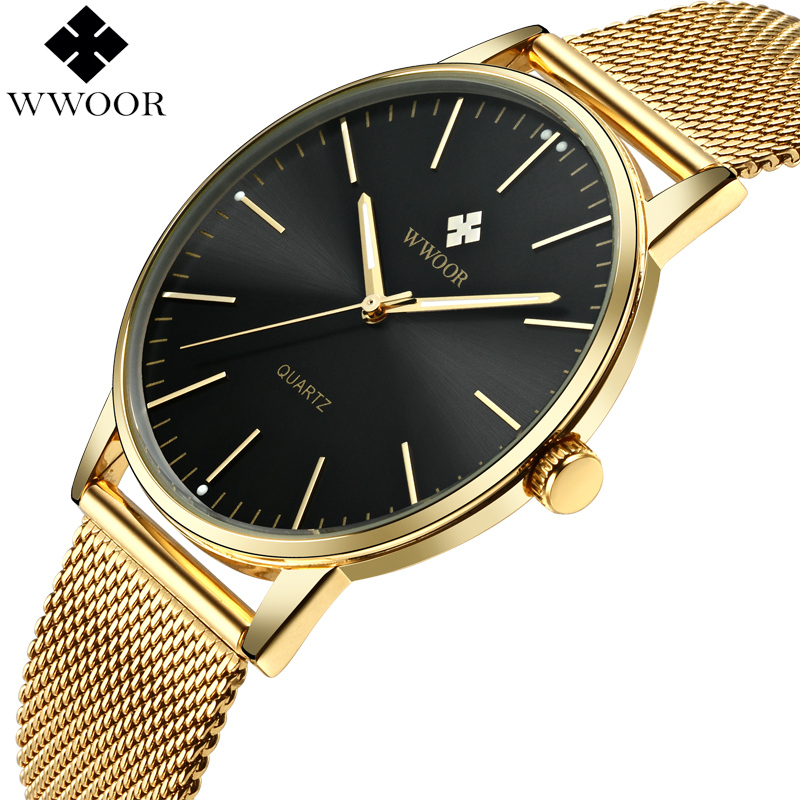 WWOOR Top Brand Luxury Men's Quartz Waterproof Gold Watches Men Ultra Thin Analog Clock Male Sport Wrist Watch relogio masculino wwoor waterproof ultra thin date clock male stainess steel strap casual quartz watch men wrist sport watch 3 colors