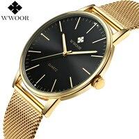 WWOOR Top Brand Luxury Men S Quartz Waterproof Gold Watches Men Ultra Thin Analog Clock Male