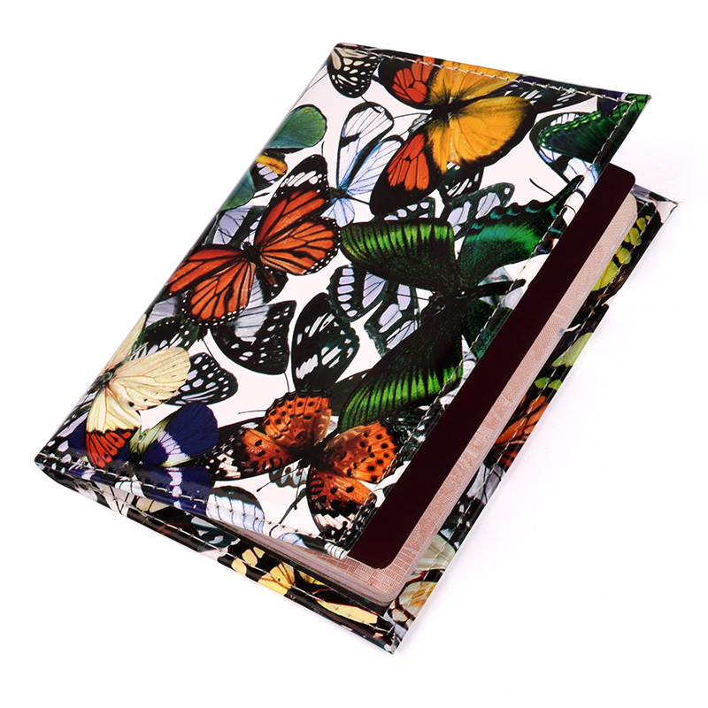 PU Leather Butterfly Passport Cover Travel Wallet Document Protector Passport Case Box Credit Card Holder Porta Pasaporte 3d skull floral pu leather passport cover wallet travel function credit card package id holder storage money organizer clutch