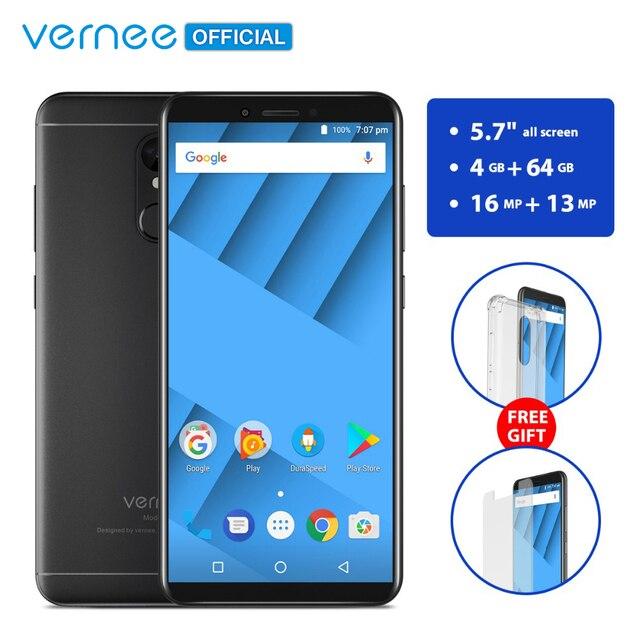 Vernee M6 4 ГБ 64 ГБ мобильный телефон с экраном 5.7 дюймов и 16MP камеры 4G LTE  Android 7,0 смартфон с батареей на 3300 мАч телефон со сканером отпечатков пальцев и двойным портом SIM