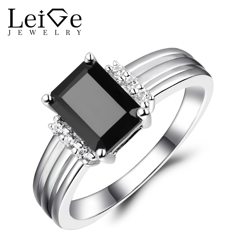 Leige Jewelry Black Rings Sterling Silver 925 Natural Black Spinel Gemstone Engagement Rings for Women Fine Jewelry Emerald CutLeige Jewelry Black Rings Sterling Silver 925 Natural Black Spinel Gemstone Engagement Rings for Women Fine Jewelry Emerald Cut