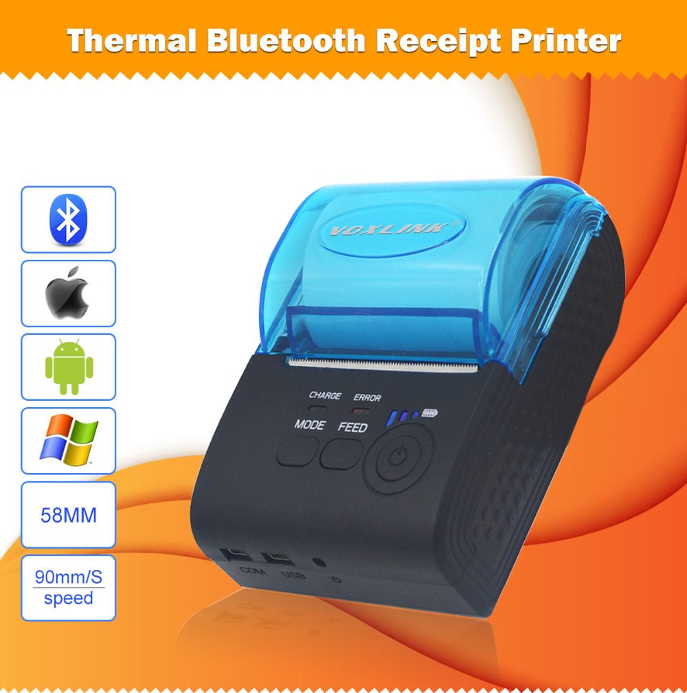 VOXLINK Mini Wireless 58mm Portable Bluetooth Thermal Receipt Printer for Android/IOS Mobile