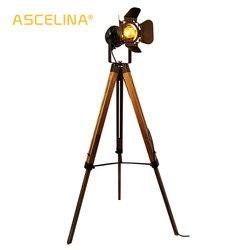 Lampa podłogowa Led z drewna statyw American Loft regulowana lampka nocna oświetlenie podłogowe lampa stojąca z abażurem oświetlenie domu do salonu