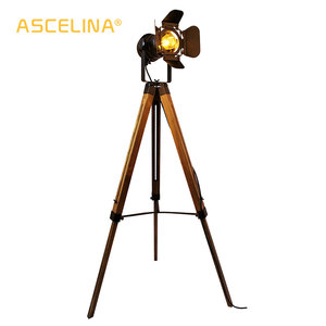 Image 1 - Led wood floor lamp Tripod American Loft Adjustable Bedside Floor lights stand lamp with lampshade home lighting for living room