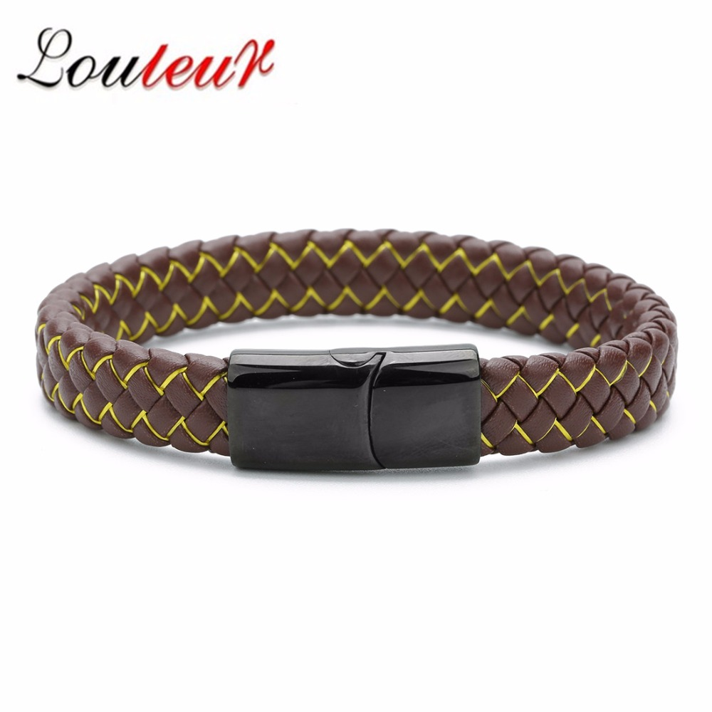 LOULEUR 11 Colors Casual Men Jewelry Genuine Leather Bracelets Black Stainless Steel Clasp Rope Chain Bracelets For Men Bracelet in Chain Link Bracelets from Jewelry Accessories