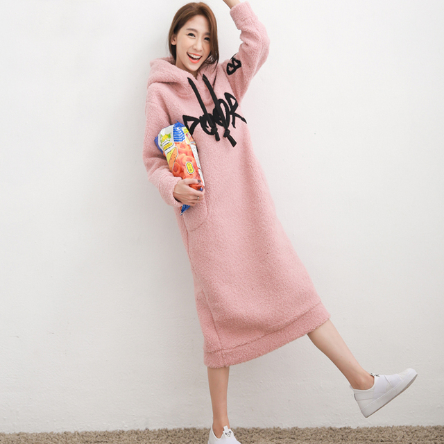 22839e0c33763 Wintre Sheep Velvet Thickening Pregnant Dress with Pocket Pink Clothes  Fashion Elegant Soft Comfortable Maternity Dresses HMA299