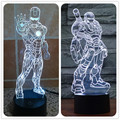 The new seven stand iron man 3D lamp LED lamp light touch switch acrylic visual illusion Nightlight