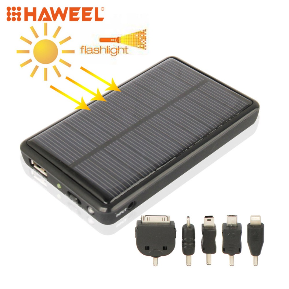 HAWEEL 5000mAh Mobile Phone Emergency Power Station with Solar Charger & LED Light For iPhone, iPad and Other Smart Phone