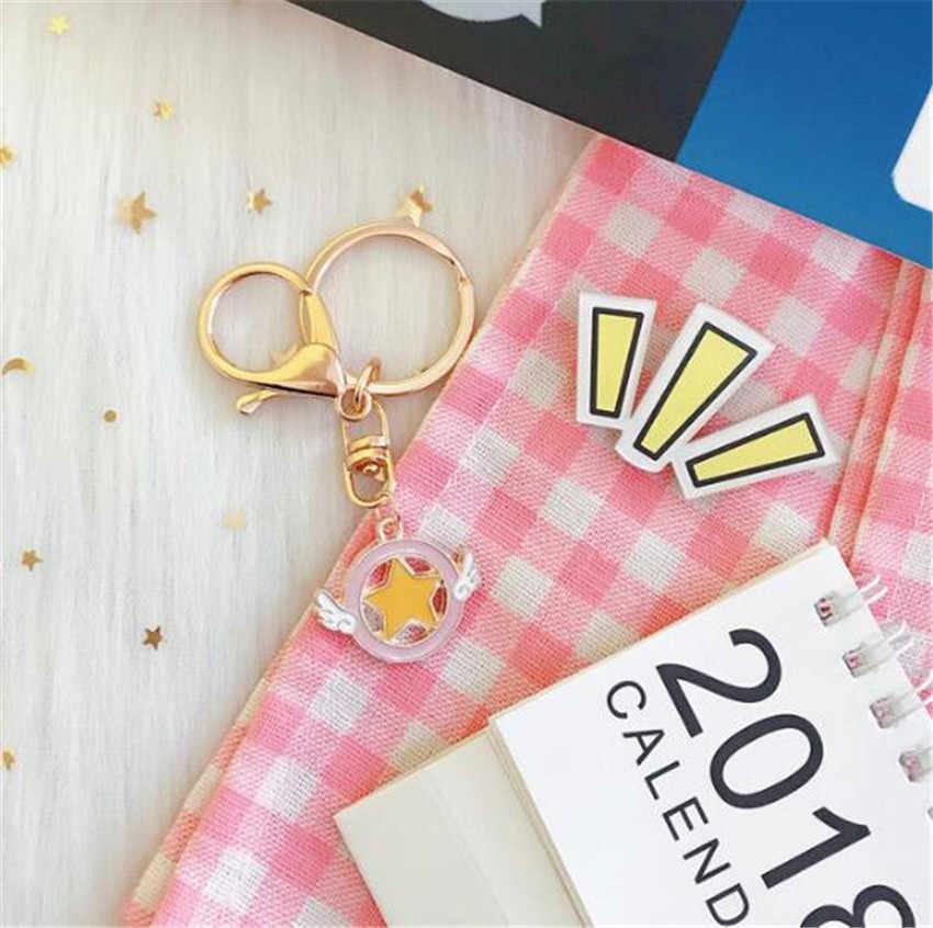Anime Sailor Moon llavero Cosplay tarjeta Captor Sakura llavero de Metal de las niñas, Halloween accesorios, Kinomoto Sakura llaveros A643